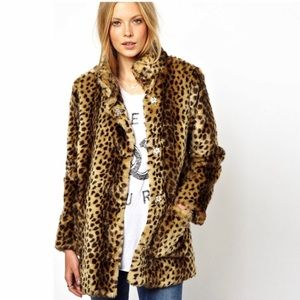 ASOS Leopard Faux Fur Coat